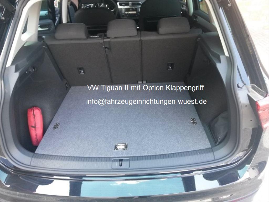 vw tiguan II (2016) mit Ladeboden zum nachrüsten von Fahrzeugeinrichtungen Wüst mit option klappengriff